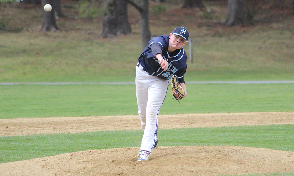 Franklin sophomore Jake Noviello struck out six in his varsity debut to earn the win. (Ryan Lanigan/HockomockSports.com)